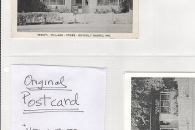 postcards of original post office and Irwin's store