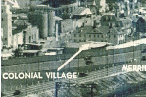 Colonial Village Homes at 1935 Century of Progress Fair photos/ homes moved by barge to Beverly Shores