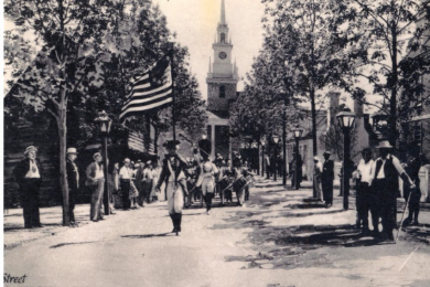 Drum & Fife Parade in front of Old North Church, Colonial Village