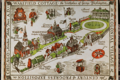 depiction of Colonial Village at Century of Progress Exposition