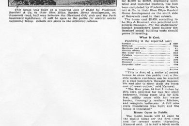 1936 Chicago Tribune article Bartlett puts up replica of FHA residence