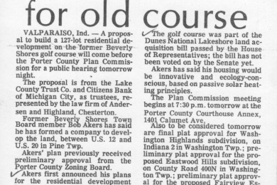 Houses planned for old golf course (news article)