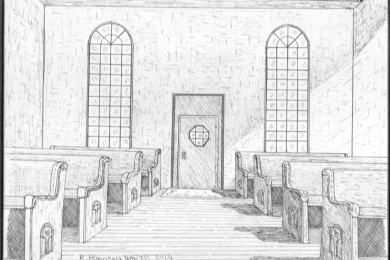 interior drawing of pews and windows