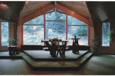 postcard of interior St. Ann's of the Dunes Catholic church (a)
