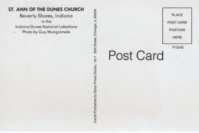 postcard (back) of St. Ann's Church photo by Guy Mangiamele