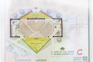 mylar schematic layout for St. Ann of the Dunes in Beverly Shores