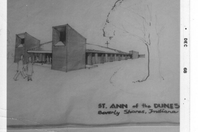 b/w photo of drawing of St. Ann of the Dunes, 12—68
