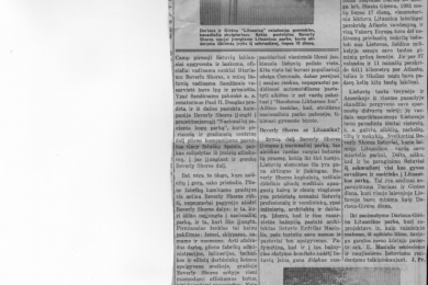 Lithuanian newspaper article about Lithuania Park and St. Ann of the Dunes church in Beverly Shores