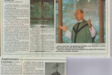 newspaper article on 50th anniversary of St. Ann's church: golden anniversary. Rev Ed McKenna pictured.
