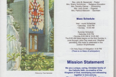 Saint Ann of the Dunes church bulletin from May, 2005. (cover page 1)