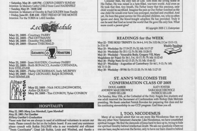 St Ann of the Dunes church bulletin from May, 2005 (page 2)