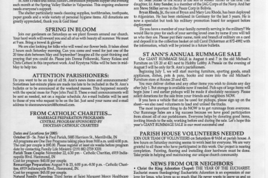 St. Ann of the Dunes church bulletin from May, 2005, page 3