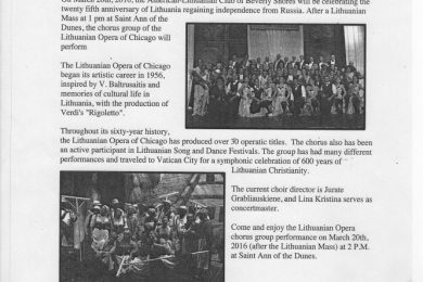 article inviting community to St. Ann of the Dunes church for 25th anniversary of Lithuanian independence from Russia. Ruta Sidabra, president of the American—Lithuanian Club of Beverly Shores.