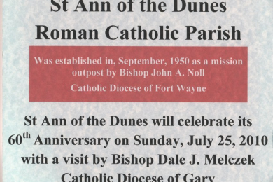 announcement of 60th anniversary celebration of St. Ann of the Dunes